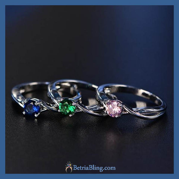 32954812316 - 925 Sterling Silver Colorful Cocktail Ring