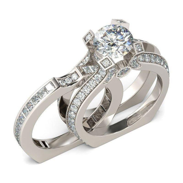32958831762 - Chic White Gold Filled Two Piece Promise Ring