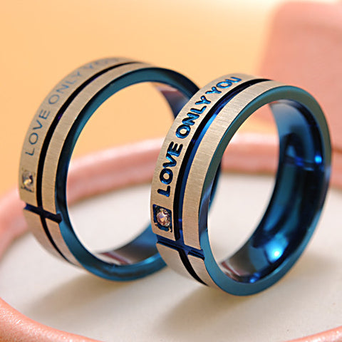 "Stainless Steel Simple Circle ""Love Only You"" Couple Ring"