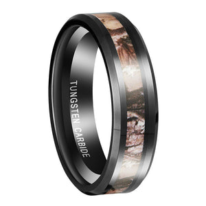0.24 or 0.31 Inch Wide Tungsten Carbide Ring With Red Forest Camouflage Inlay