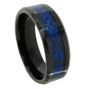 Tungsten Carbide Blue On Black Celtic Dragon Ring
