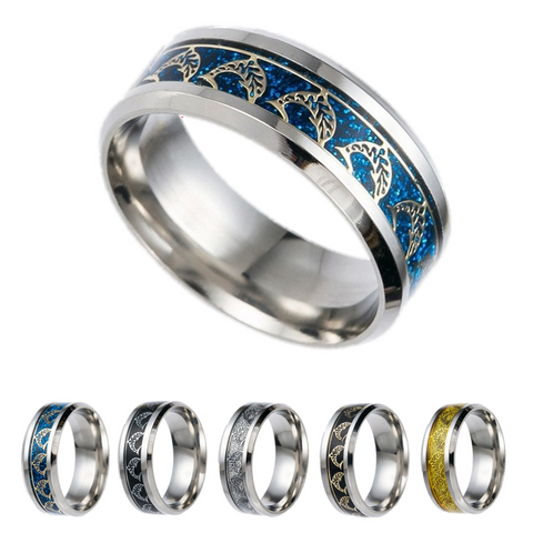 0.31 Inch Wide Titanium Ring With Dolphin Inlay