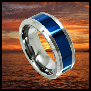 0.31 Inch Wide Infinity Tungsten Carbide Ring With Polished Blue Ceramic Inlay