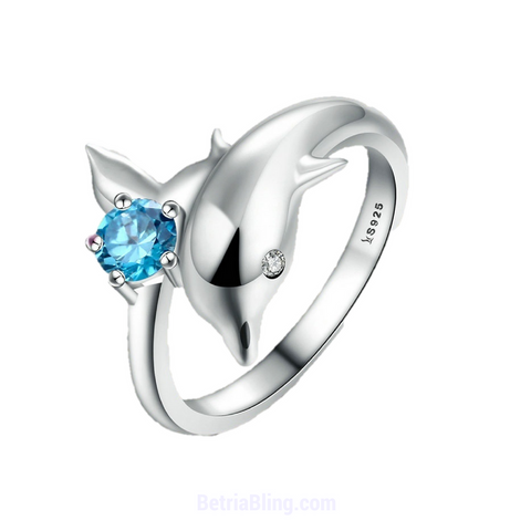 Sterling Silver Dolphin Ring With CZ Stones