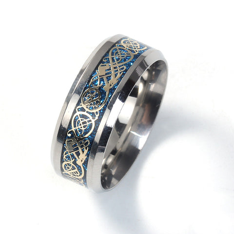 Blue And Gold Titanium Celtic Dragon Ring