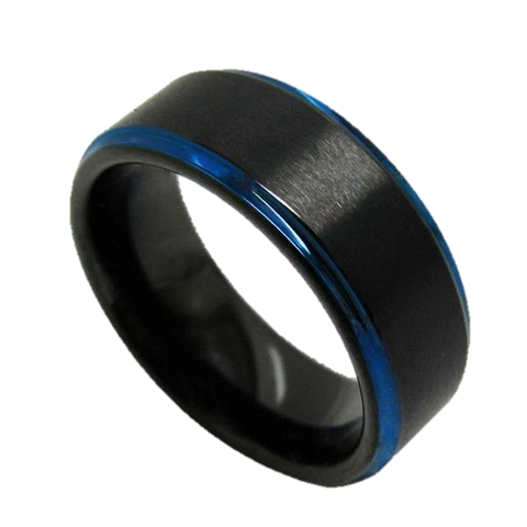 0.31 Inch Wide Black Tungsten Carbide Ring With Brushed Blue Stripe