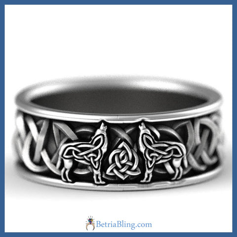 Celtic Knot Wolf Ring