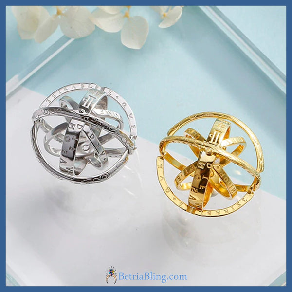 Rotating Astronomical Sphere Combined Ring And Necklace Charm