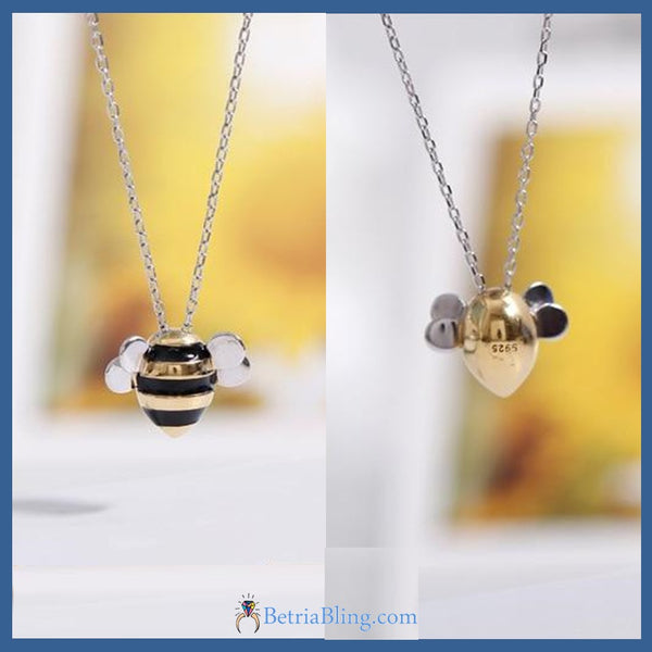 925 Sterling Silver Bee Necklace