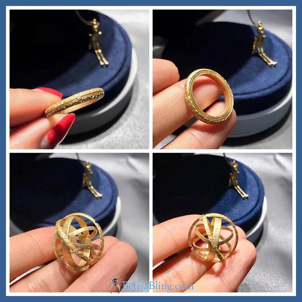 Rotating Astronomical Sphere Combined Ring And Necklace Charm (Gold)