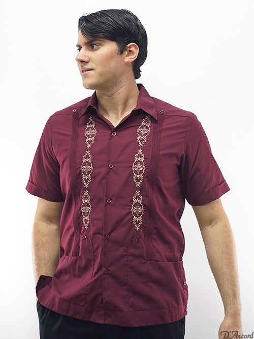 Men's Guayabera Embroidered Burgundy