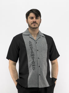 Men's Cuban Shirt Charcoal Embroidered