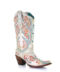 Ladies Distressed Ivory Boots w/ Turquoise & Rust Embroidery & Studs