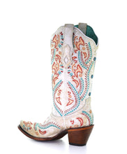 Load image into Gallery viewer, Ladies Distressed Ivory Boots w/ Turquoise & Rust Embroidery & Studs