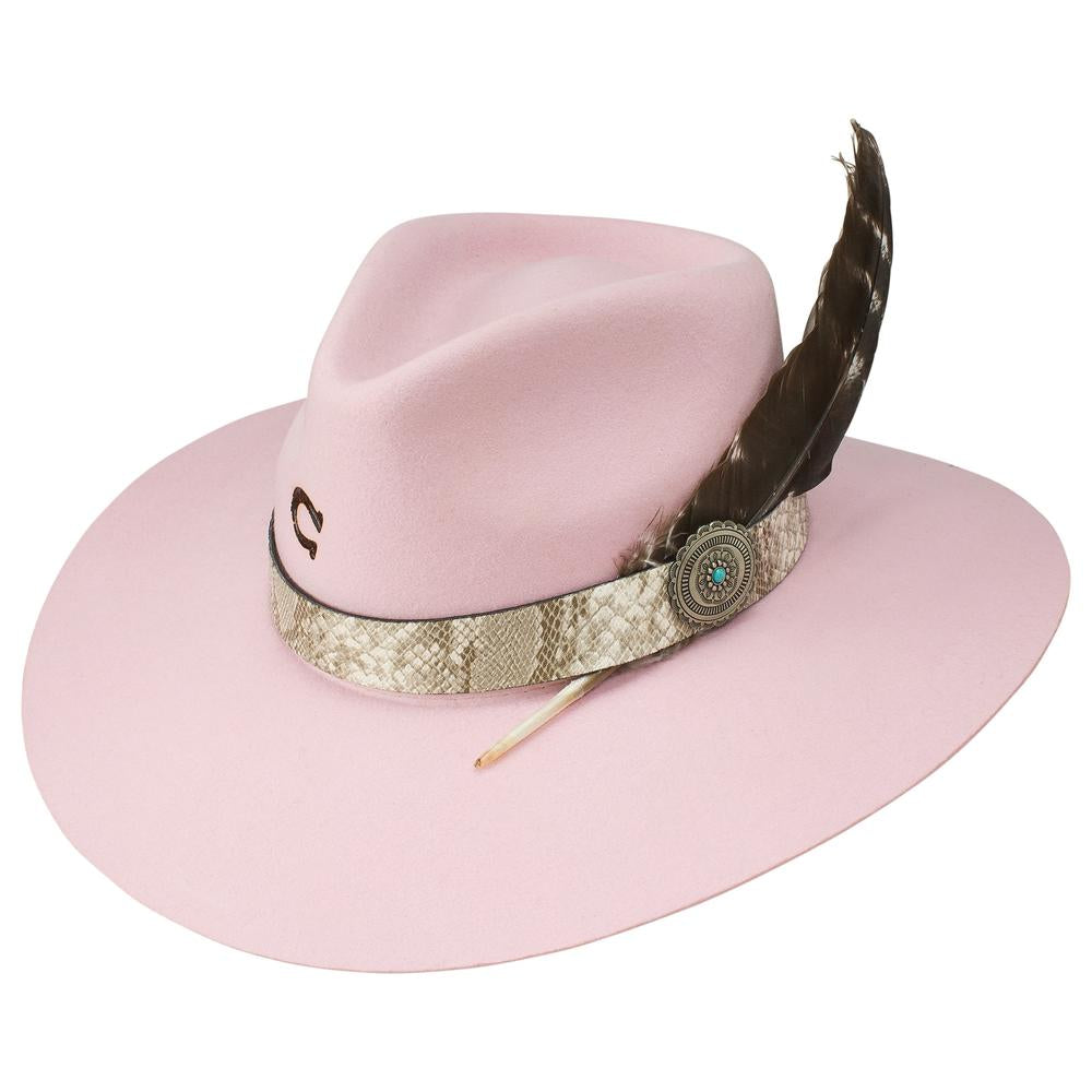 Charlie 1 Horse Wool Felt Hat - The Sidewinder in Pink