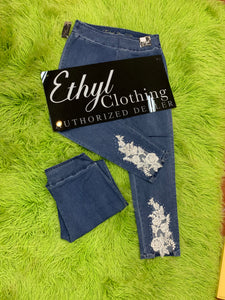 Ethyl Skinny Jean with Lace Trim