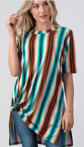 Vertical Stripes Tunic Top