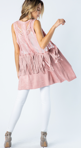 Ultra Suede & Lace Fringed Vest Pink