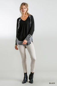 Black Waffle Knit Top w/ Animal Print Dolman Sleeve