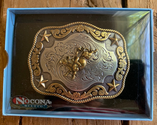 Two Tone Bullrider Belt Buckle