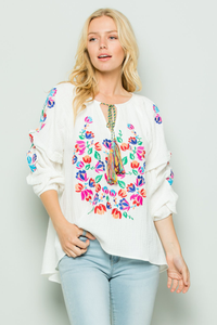 Floral Embroidered White Blouse