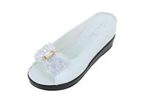 Ladies Hidden Wedge with Crystal Bow - White