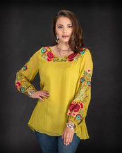 Load image into Gallery viewer, Citron Floral Embroidered Top