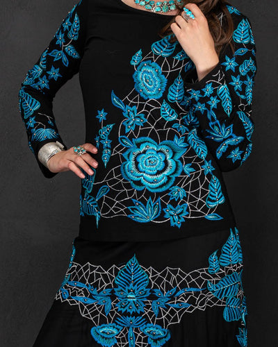 Black Knit Top with all over Turquoise Embroidery