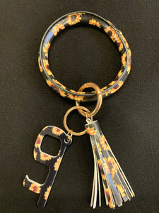 O Ring Key Chain w? Contactless Door Opener, Sunflower Print