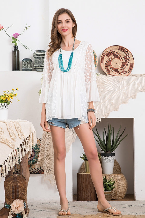 Floral Pattern Embroidery Lace Top