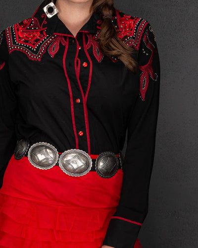 Black Western Blouse with RED embroidery