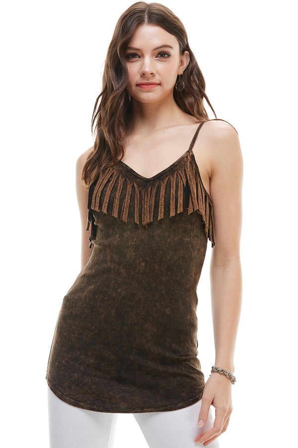 Mineral Washed Black Fringed Cami