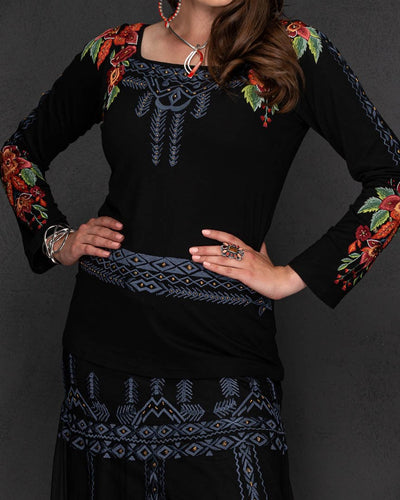 Black BEAUTY Knit Square Neck Embroidered Top
