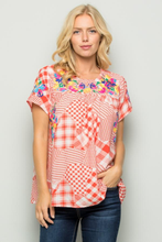 Load image into Gallery viewer, Coral & White Floral Embroidery Plaid Blouse