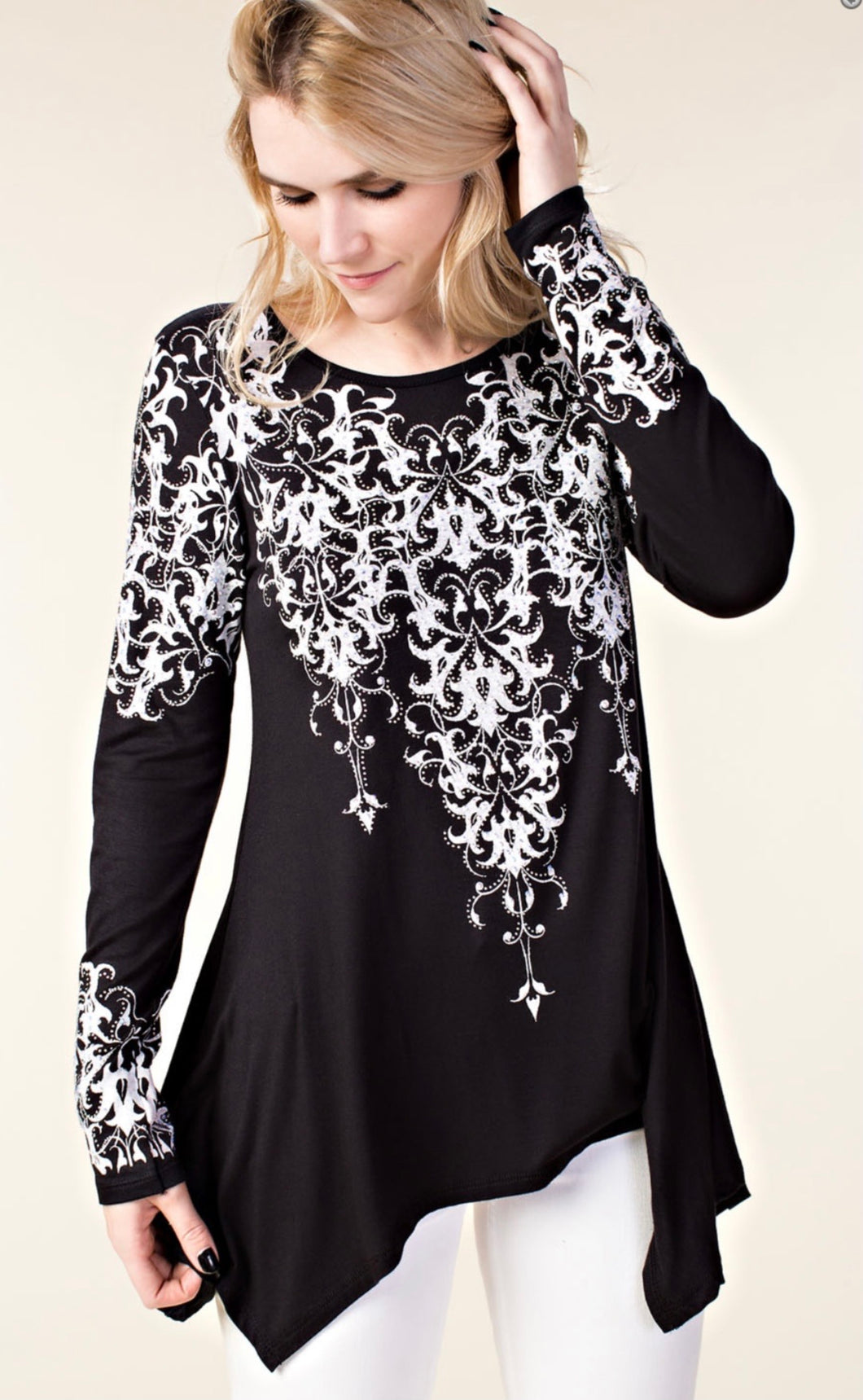 Long Sleeve Black T-Shirt with White Design & Stones