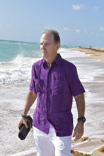 Load image into Gallery viewer, Men's Purple Short Sleeve Guayabera