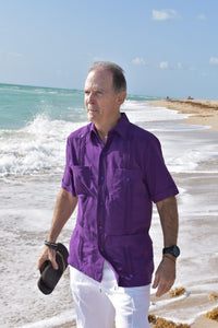Men's Purple Short Sleeve Guayabera