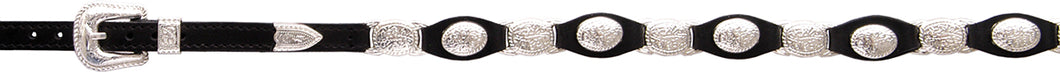 Black Leather & Oval Concho Hat Band