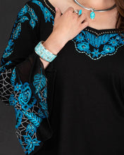 Load image into Gallery viewer, Black Knit Tunic w/ Turquoise Embroidery