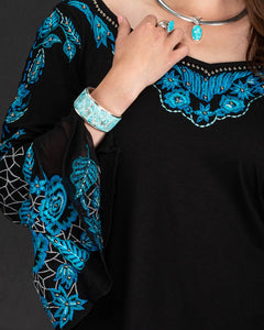 Black Knit Tunic w/ Turquoise Embroidery