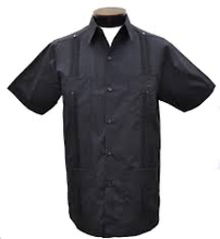 Load image into Gallery viewer, Men's Black Short Sleeve Guayabera