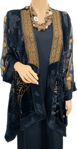 Black Velvet & Sequence Brocade Short Butterly Jacket