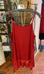 Red Dress Extender with Red Lace Trim