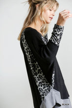 Load image into Gallery viewer, Black Waffle Knit Top w/ Animal Print Dolman Sleeve