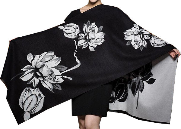 White/Black Reversible Wrap-Artisan Shawl