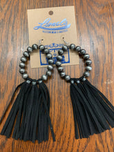 Load image into Gallery viewer, Fringed leather & bead earrings
