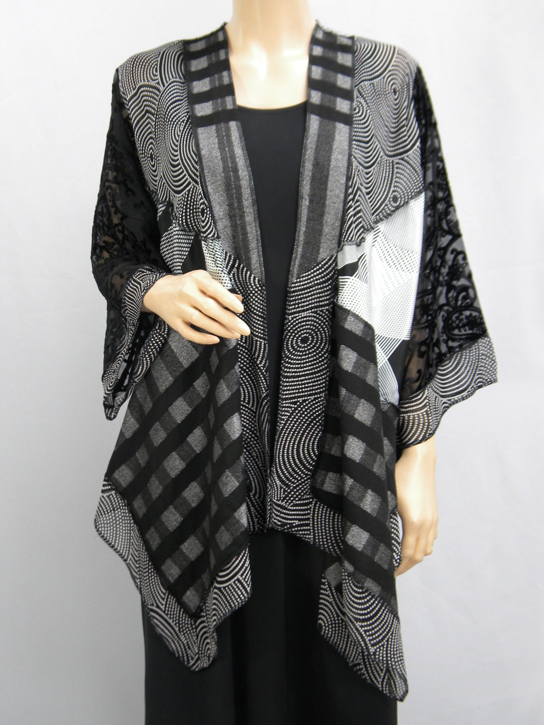 Black & White Burnout Velvet Butterfly Jacket