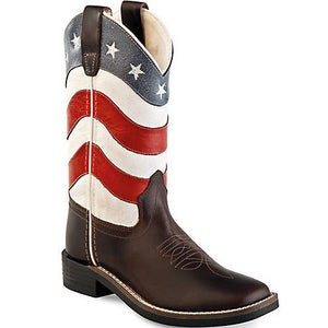 Children's Old West Square Toe American Flag Boots