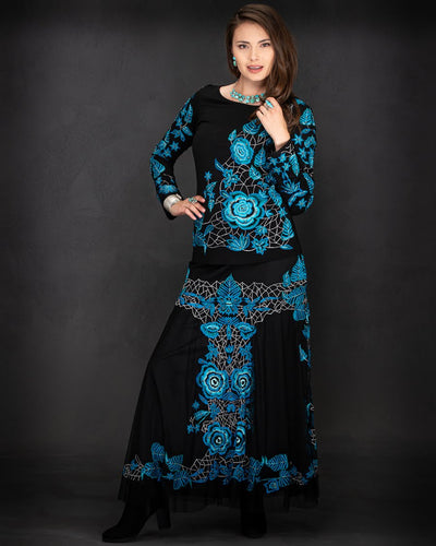 Fabulous Black Skirt w/ TURQUOISE all over Embroidery