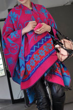 Load image into Gallery viewer, Fuchsia & Turquoise Reversible Wrap-Artisan Shawl